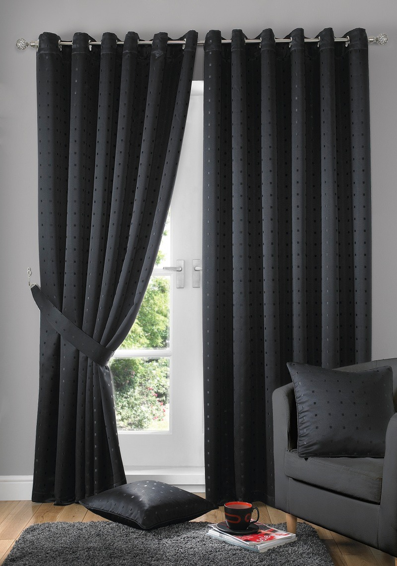 black-curtain-with-black-pillow-on-black-sofa-in-living-room-with ...